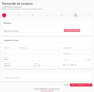 étape 1 Demande de location